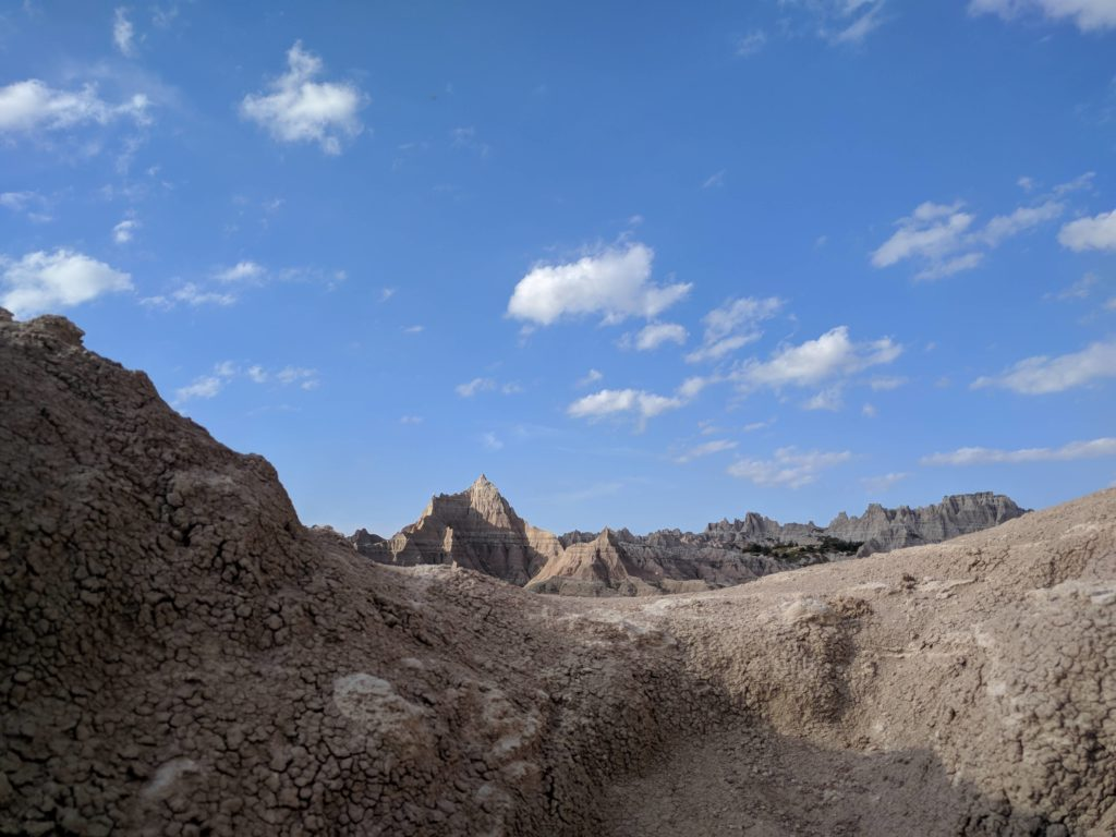 The Badlands. Shows flaky earth's crust.
