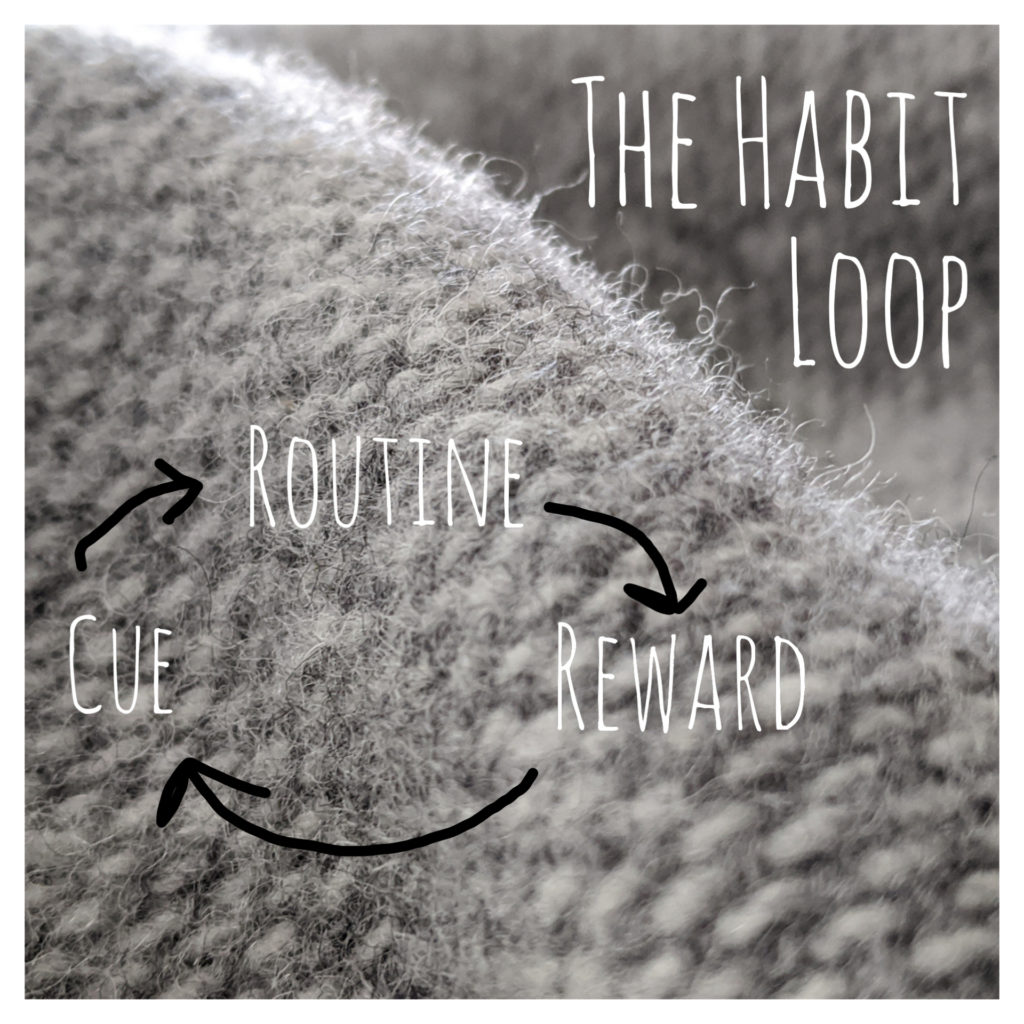 The Habit loop is comprised of 3 elements: Cue, Routine, Reward. Image created by Jenni Davis using InCollage.
