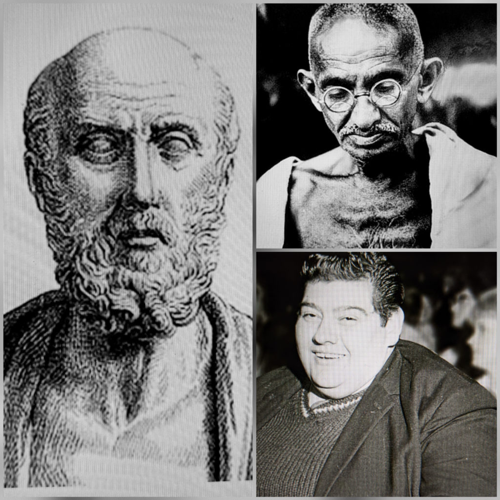 Photo collage of famous fasting individuals. Hippocrates, Ghandi, and Angus Barbieri.
