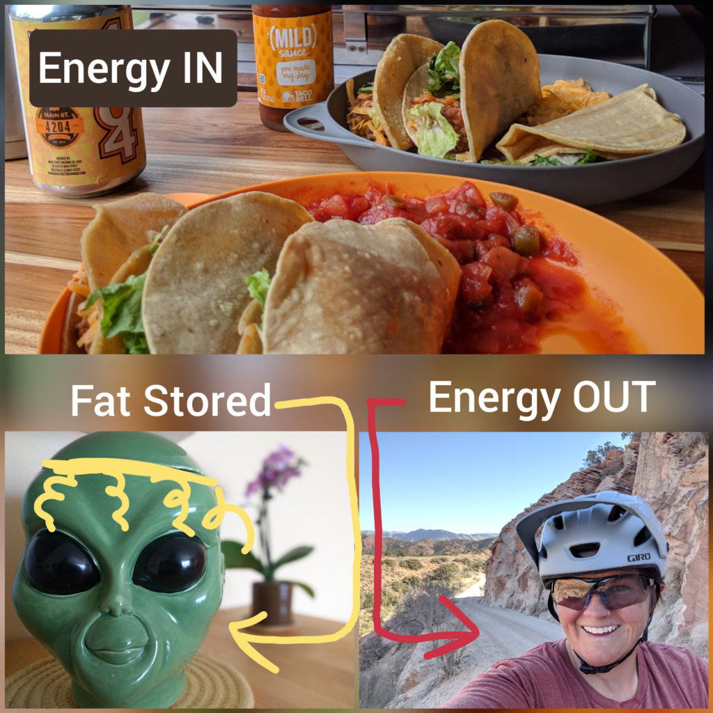 Fasting benefits: Photo collage of tacos (energy in), alien cookie jar( fat stored), and Jenni biking up mountain (energy out).