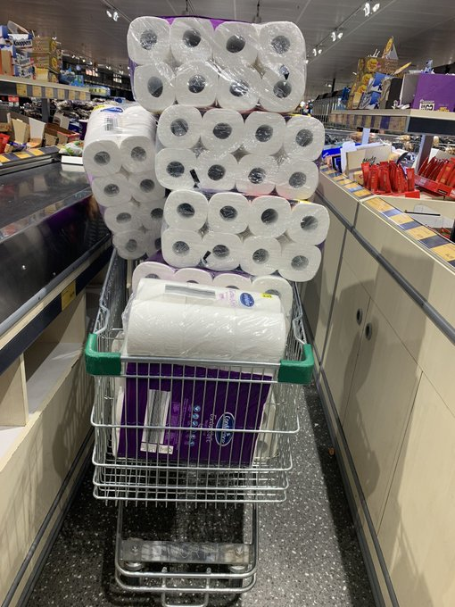 March Madness. Covid-19 is causing people to hoard toilet paper. Image borrowed from https://au.news.yahoo.com/australians-hoard-toilet-paper-amid-coronavirus-panic-211023682.html